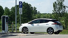 2018 Nissan Leaf At An Electric Charging Station