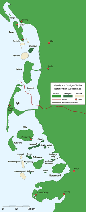 Halligen - North Frisian and Danish Wadden Sea Islands with Halligen (darker green)