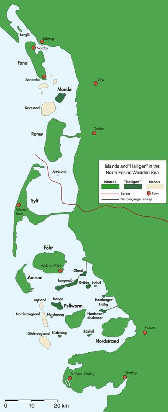 Halligen - North Frisian and Danish Wadden Sea Islands with Halligen (darker green)