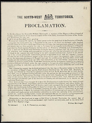 Northwest Territories - Proclamation concerning the admission of Rupert's Land and the North-West Territories to Canada