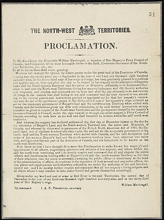 Northwest Territories - Proclamation concerning the admission of Rupert's Land and the North-Western Territories to Canada