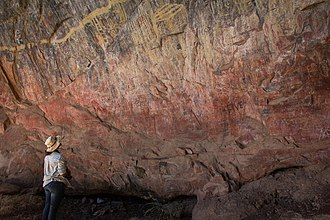 Ancient (but graffitied) Rock Art in Nsalu Cave, Kasanka National Park in North-Central Zambia. NsaluCave.jpg