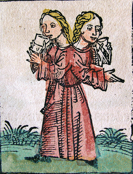 Siamese Twins, Nuremberg Chronicles (1441-1514) (PD)