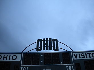 Ohio Bobcats - The university scoreboard at Goldsberry Track and Pruitt Field