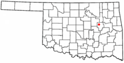 Location of Beggs, Oklahoma