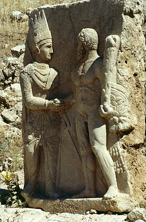 Antiochus I Theos of Commagene - Antiochus I of Commagene, shaking hands with Heracles, 70–38 BC, Arsameia