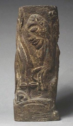 Objet décoratif carré avec dieux tahitiens - Objet décoratif carré avec dieux tahitiens, 34cm