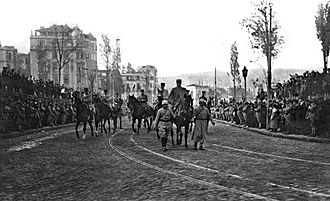Occupation of Constantinople - Louis Franchet d'Espèrey marching in Beyoğlu, February 8, 1919