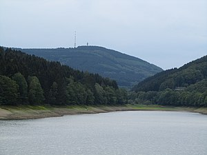 Nordhelle (Ebbe Mountains) - View looking west-southwest over the Oester Dam to the Nordhelle