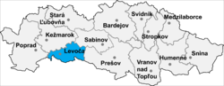 Location of Levočas apriņķis