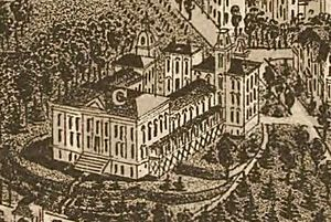 "Old City Hall (Knoxville) - The ""Deaf and Dumb Asylum,"" as shown on an 1886 map of Knoxville"