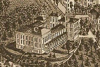 """Old City Hall (Knoxville) - The """"Deaf and Dumb Asylum,"""" as shown on an 1886 map of Knoxville"""