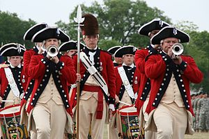 Military drums - The Old Guard Fife and Drum Corps re-enacts a scene from the American Revolution.