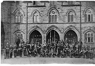 Armoury Towers, Macclesfield - Old photo of Permanent Staff 1868