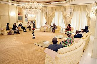 Aso Villa - President Obasanjo hosts the then US First Lady Laura Bush at the Presidential Villa, 18 January 2006