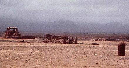 "A ""hedgehog"" defensive sangar, made from oil drums filled with sand, protecting Salalah airfield Oman. Dhofar 1972 (8626836339).jpg"