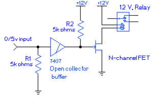 Pull-up resistor - A circuit showing a pull-up resistor (R2) and a pull-down resistor (R1), as well as an open collector (7407) to drive the line to the FET only when given a low 0 V input
