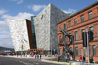Titanic Belfast - Titanic Belfast seen in context from the front