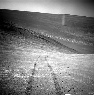 Endeavour (crater) - Opportunity images a Martian whirlwind on the floor of Endeavour (April 2016)