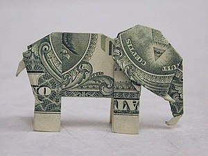 Moneygami - This elephant is an example of origami work made using paper currency.