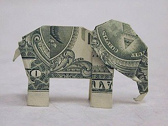 Origami - Image: Origami (made from an American 1 dollar bill) of an elephant
