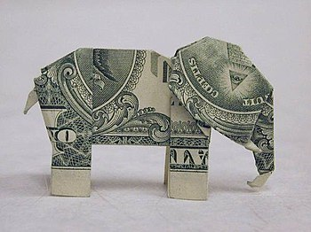 Origami (made from an American 1-dollar bill) of an elephant.jpg