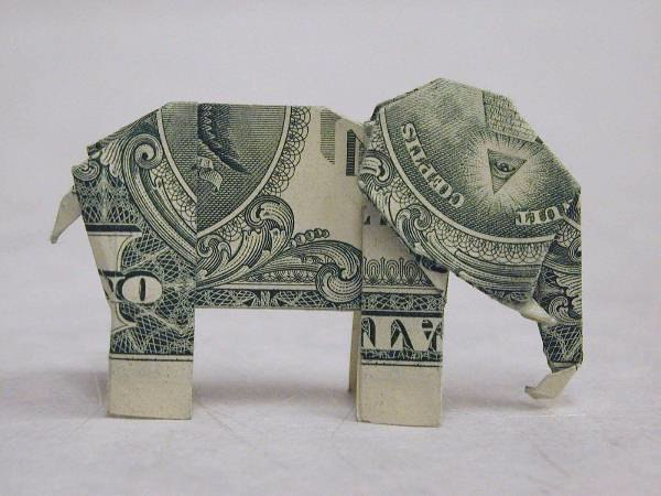 Origami (made from an American 1-dollar bill) of an elephant