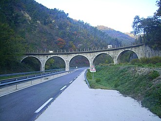 Castillon, Alpes-Maritimes - The Carrei viaduct, built in 1912, for the old tramway which connected Menton to Sospel and which ceased being used by trams in 1931
