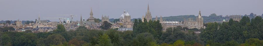 Oxford seen from Boars Hill, to the south-west of the city