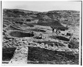 PERSPECTIVE VIEW (NORTHEAST) SHOWING A SERIES OF KIVAS - Pueblo Del Arroyo, Nageezi, San Juan County, NM HABS NM,23-CHACA,1-3.tif