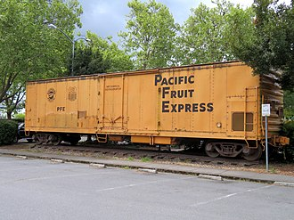 Pacific Fruit Express - A former Pacific Fruit Express refrigerator car on display in Sebastopol, California