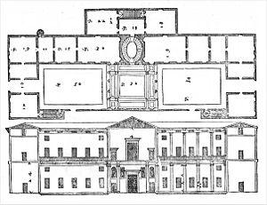 Palazzo Dalla Torre - Palazzo Dalla Torre, floor plan and façade, from I quattro libri dell'architettura by Andrea Palladio, Venice 1570