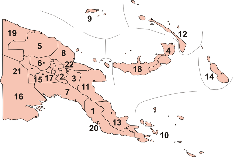 Provinces of Papua New Guinea. Papua new guinea provinces (numbers) 2012.png