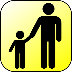 An icon illustrating a parent and child
