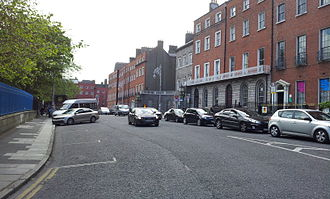 Parnell Square - The northern side of Parnell Square, with the Garden of Remembrance at left, Hugh Lane Gallery recessed at right, and former Coláiste Mhuire buildings at far end
