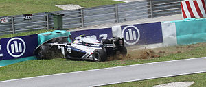 2011 Malaysian Grand Prix - Pastor Maldonado ran wide at the pit entry and hit the wall during second practice.