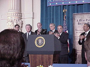 Patients' rights - A rally for the patients' bill of rights proposed in 2001, with Bill Clinton, Joe Hoeffel, Ron Klink, Ed Rendell, and Chaka Fattah.