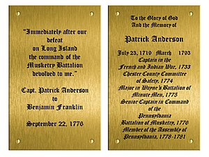Patrick Anderson (assemblyman) - Patrick Anderson plaques at Valley Forge Chapel