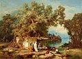 Paul von Franken - Kaukasus-Landschaft mit Rastenden und Badenden (1868).jpg