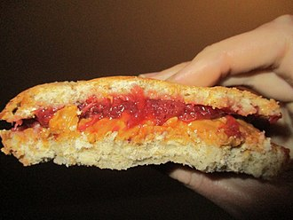 Peanut butter and jelly sandwich - Peanut butter and strawberry jam create a red-orange contrast.