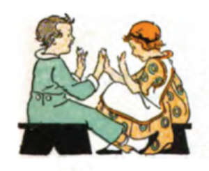 "Clapping game - Illustration of a clapping game (""Pease Porridge Hot""), c.1920"