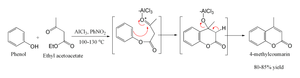 Pechmann condensation - The Pechmann condensation as applied to 4-methylcoumarin