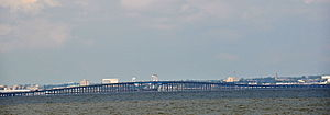 Pensacola Bay Bridge - The Pensacola Bay Bridge as viewed from Naval Live Oaks Preserve.