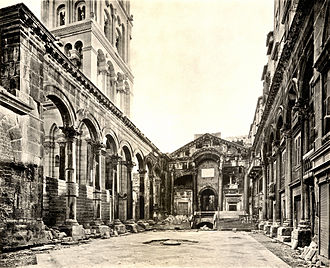Split, Croatia - The Peristyle of Diocletian's Palace, collotype (1909).
