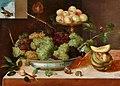 Peter Binoit - Stillleben mit Trauben in einer Porzellanschale, Pfirsichen, Melonen und Schnecken.jpg