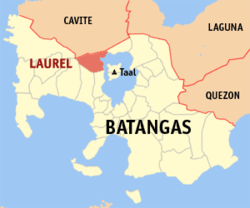 Map of Batangas showing the location of Laurel.