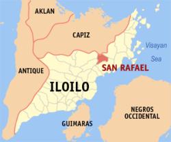 Mapa ng Iloilo na nagpapakita sa lokasyon ng San Rafael.