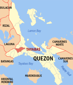Map of Quezon showing the location of Tayabas