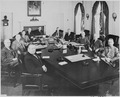 Photograph of President Truman and his Cabinet, in the Cabinet Room at the White House, (clockwise around table from... - NARA - 200083.tif