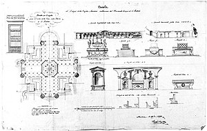Basilica of Sant'Andrea, Mantua - Plan and drawings of the crypt